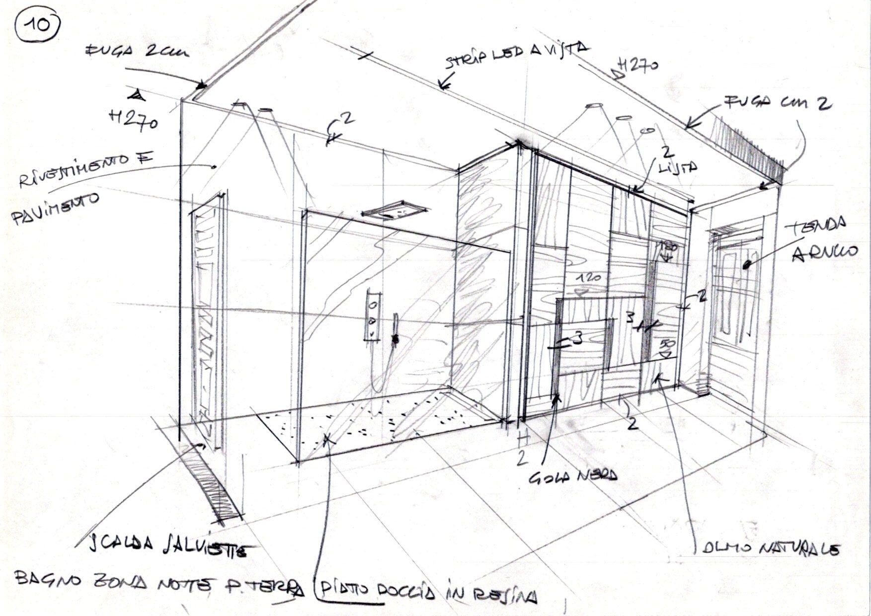 bozzetto di un bagno studio preparatorio per opere di interior design