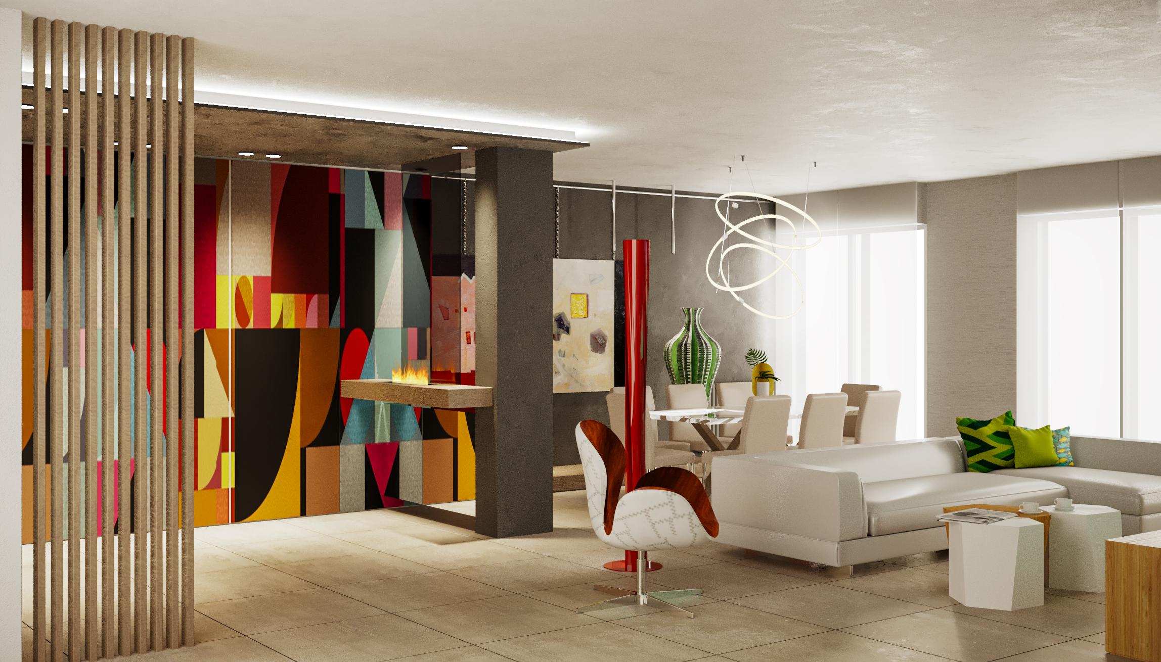 Interior design di una zona giorno con un mobile interamente decorato ad opera di un artista. un ambiente dove design e arte convivono.