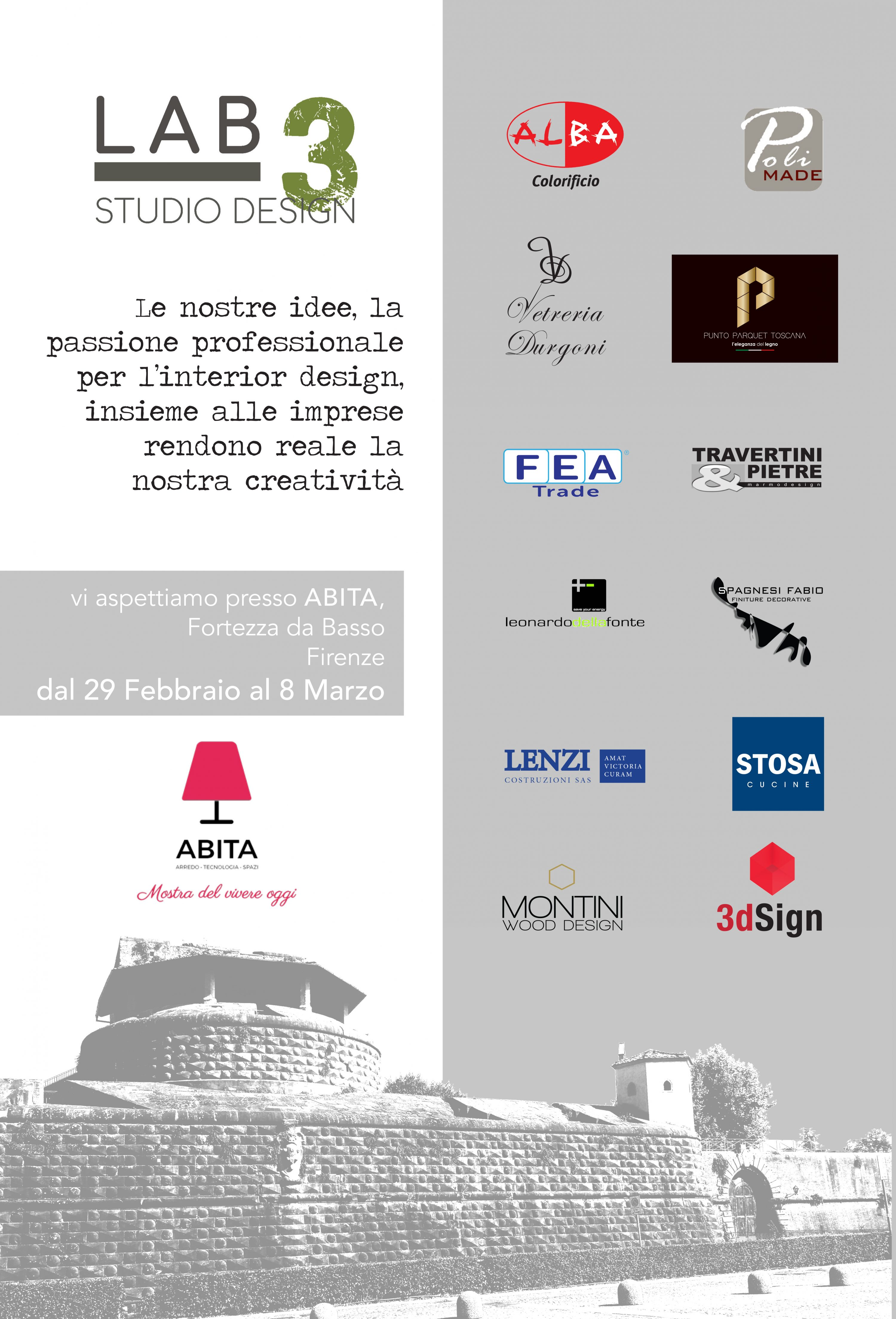 flyer LAB 3 STUDIO DESIGN . Fiera ABITA  2020 Firenze