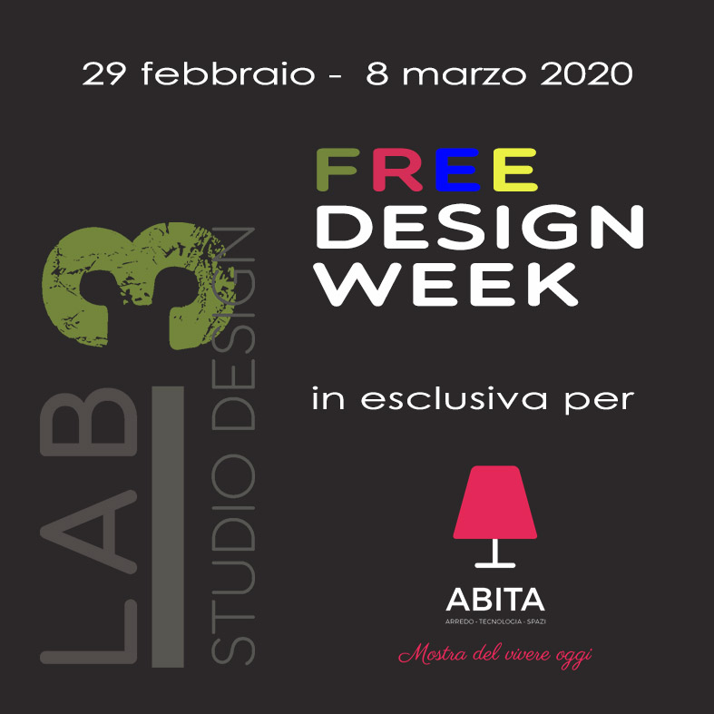 flyer FREE DESIGN WEEK presso ABITA  2020 Firenze