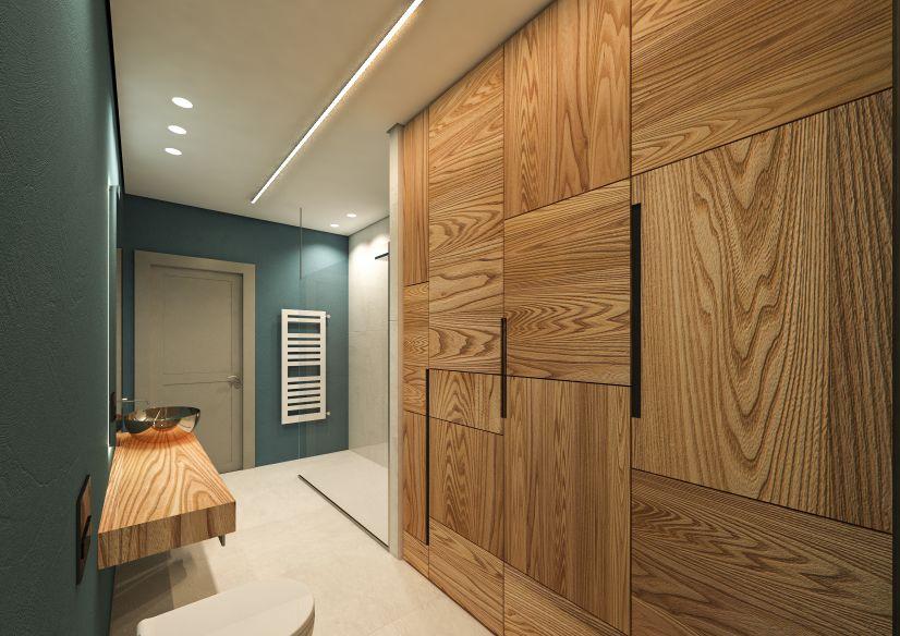 interior design di un bagno con rivestimento in resina