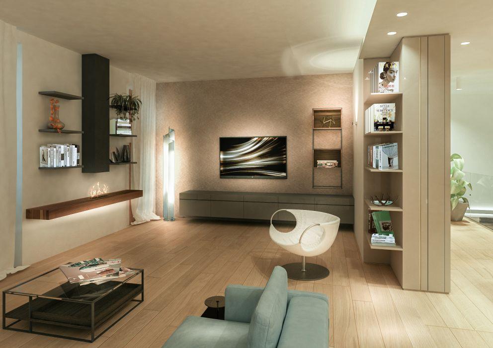 interior design di un soggiorno con caminetto a bio alcol