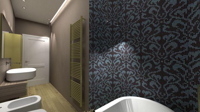 un mosaico fantasia per il bagno