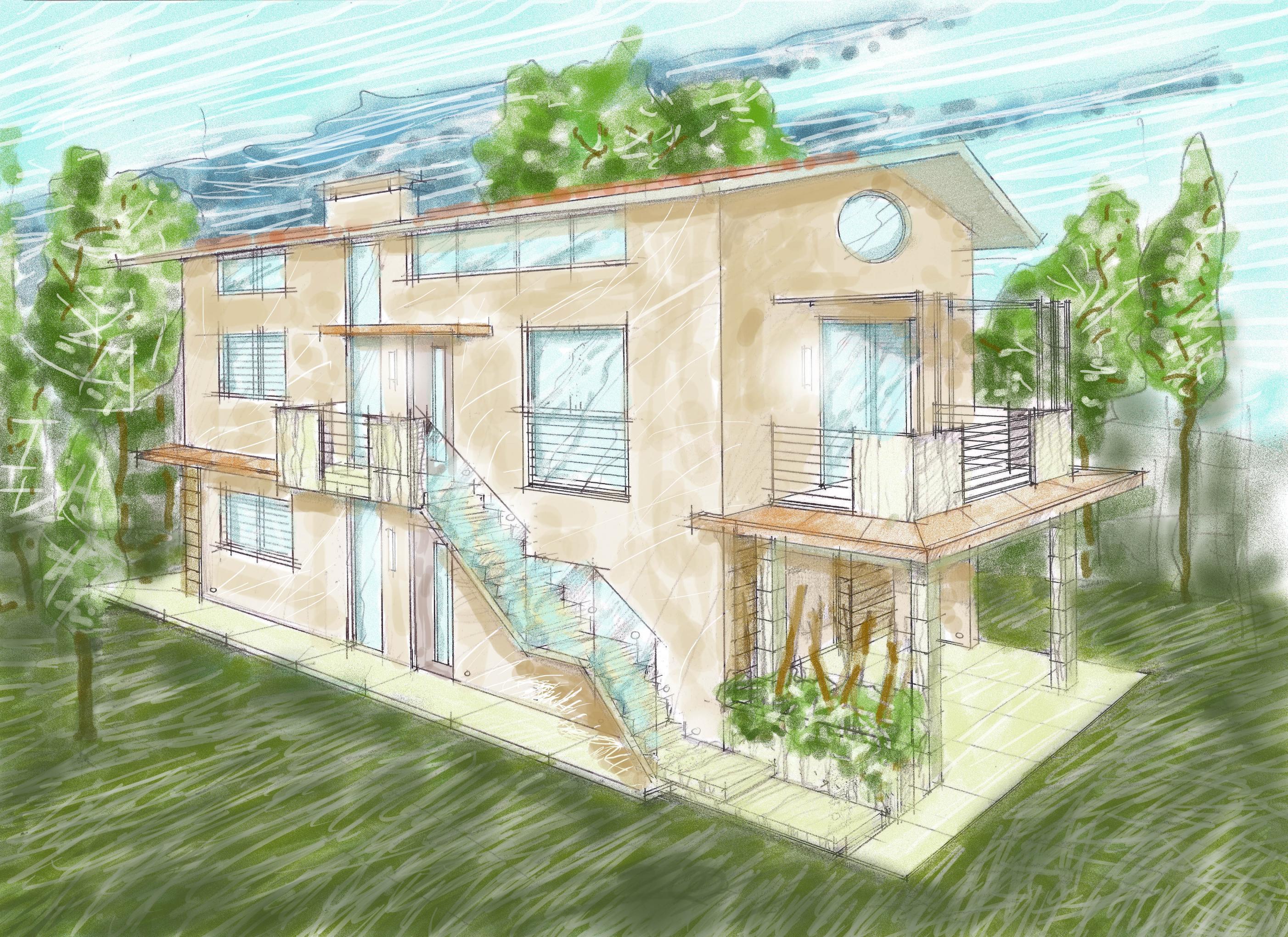 proposta per facciata esterna di nuovo edificio